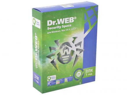 Антивирус Dr. Web Security Space 3 ПК/1 год (BHW-B-12M-3-A3)