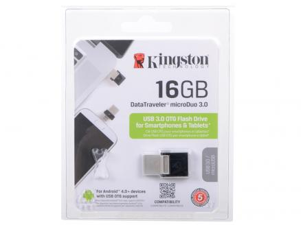 USB флешка Kingston DTDUO3 16Gb Black (DTDUO3/16GB) USB 3.0, microUSB / 70 МБ/cек / 10 МБ/cек