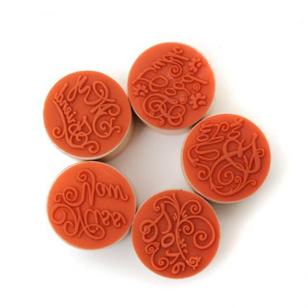 Wooden Round Handwriting Wishes Sentiment Words Floral Pattern Rubber Stamp