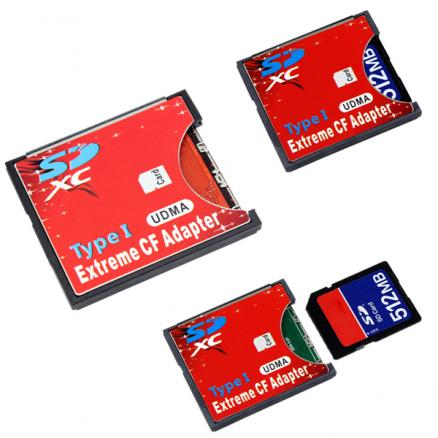 Extreme Single SD MMC SDHC SDXC Slot To CF Type I Compact Flash Memory CF Card Adapter