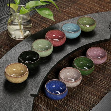3 Color Kung Fu Tea Cup Ice Cracked Glazed Ceramic Tea Cup