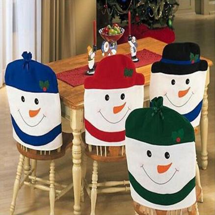Christmas Snowman Chair Cover Kitchen Dinner Seat Back Home Party Decoration