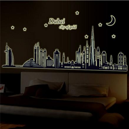 Fluorescent Glow Dubai City Building Luminous Wall Sticker