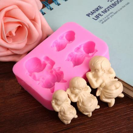 3 Sleeping Baby Silicone Mold Fondant Soap Mould Cake Decorating