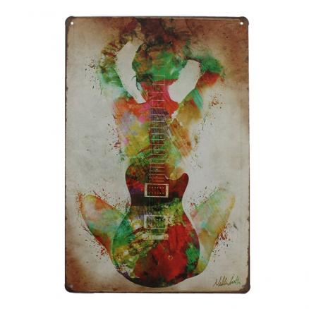 Guitar Tin Sign Vintage Metal Plaque Bar Pub Home Wall Decor