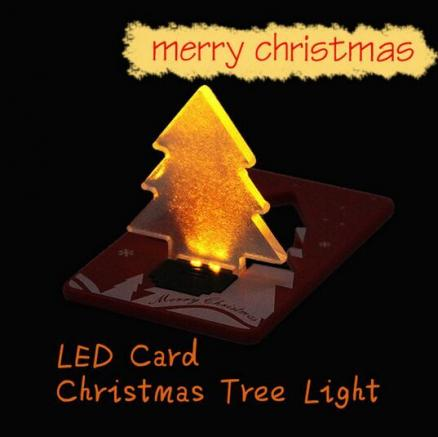 Folding Card Lamp Cute LED Light Christmas Tree Pocket Bulb Wallet Card Gift Greeting Cards