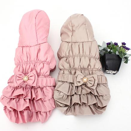 S Pet Dog Puppy Winter Cotton Bow Hoodie Jacket Coat Clothes Warm