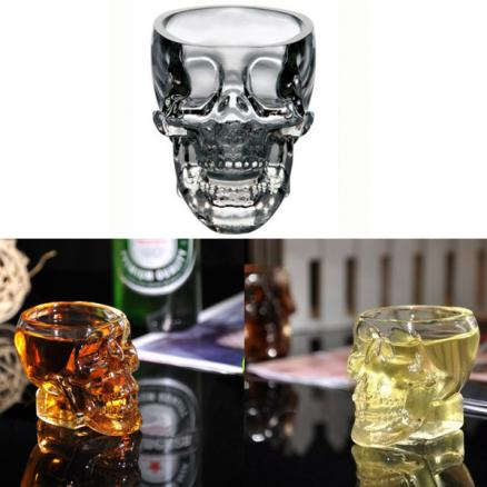 100ml Clear Head Glass Cup Clear Skull Vodka Whiskey Cup