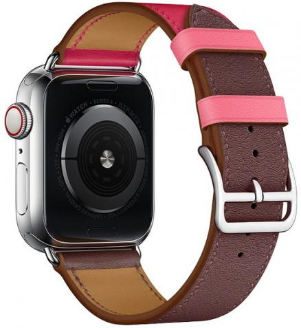 COTEetCI W36 Short Fashion Leather Band Bordeaux, Rose Extreme with Rose Azalee (WH5260-44-BRR) for Apple Watch 42/44mm