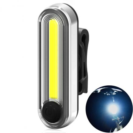 6 Modes USB Rechargeable LED COB Bicycle Tail Light White (SBK-525188)