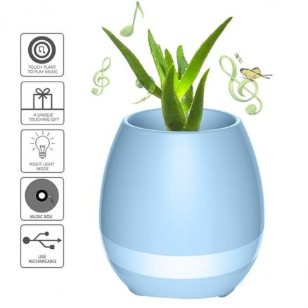 3 in 1 Smart Music Flowerpot with Bluetooth Speaker&Colorful Light TOKQI K3 Blue (HHI-530382)