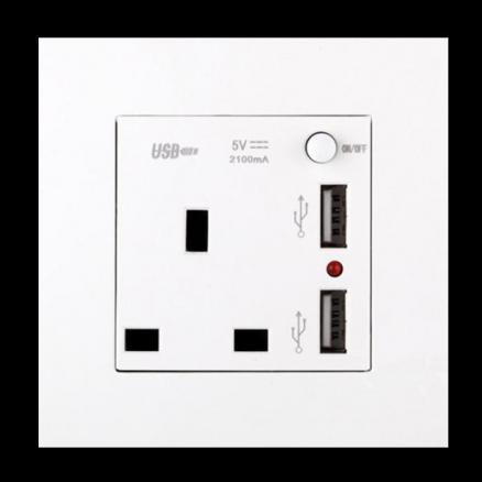 2.1A Dual USB Wall Socket Charger AC/DC Power Adapter Plug Outlet Panel w/Switch (HHI-547589)
