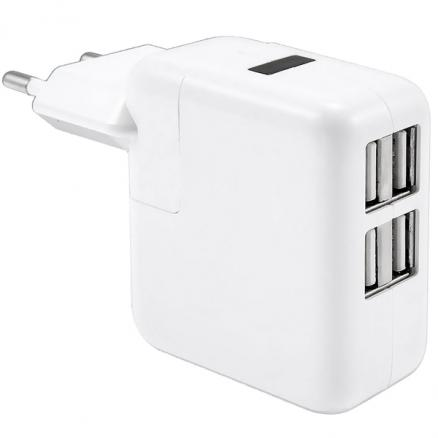 Euro Plug 5.1V 2.1A 4-USB Ports Smart Fast Charger Adapter (EPACG-427810)