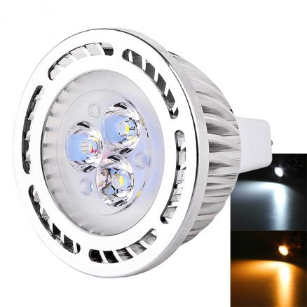 MR16 (GU5.3) 12V 3W 270-300LM 3-LED SMD 3030 LED Spot Light (HLT-512105)