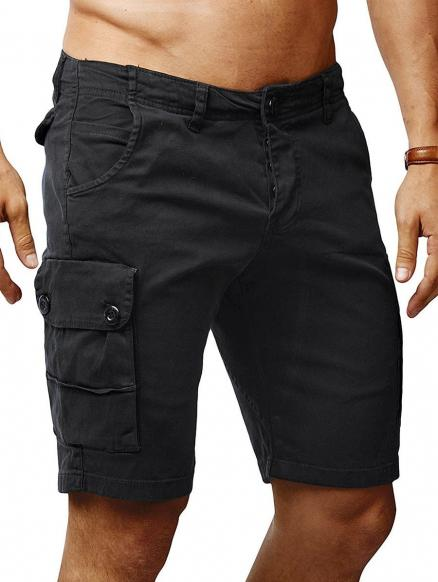 Solid Color Flat Front Cargo Shorts
