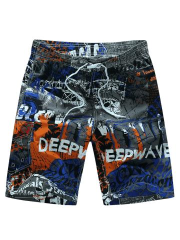 Letters Painting Print Casual Board Shorts