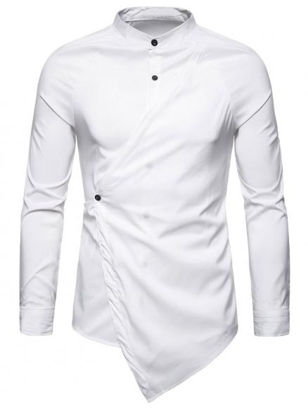 Asymmetric Solid Color Shirt