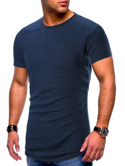 Solid Color Grid Print Slim Fit Tee