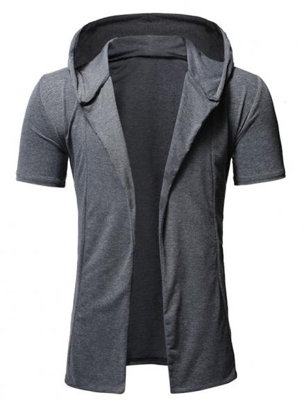 Solid Color Design Hooded Leisure T-shirt