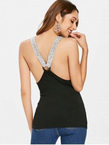 Sequins Ruched Cut Out Fitted Tank Top