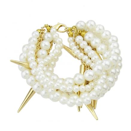 Beads Chains Spike Simulated-pearl Bracelets