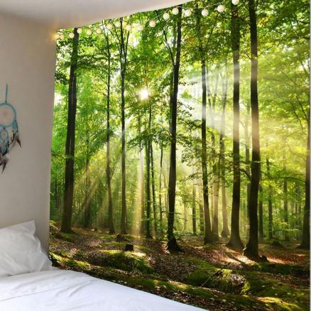 Forest Sunlight Decorative Wall Art Tapestry
