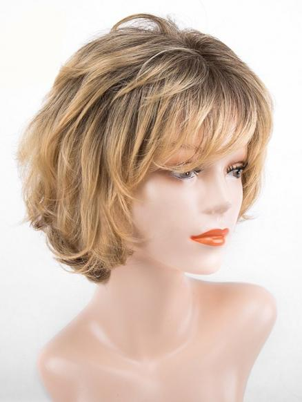 Short Inclined Bang Colormix Slightly Curly Synthetic Wig