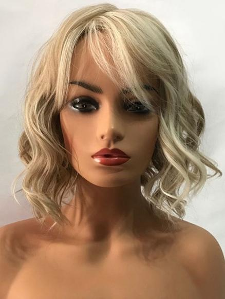 Short Inclined Bang Wavy Colormix Capless Synthetic Wig