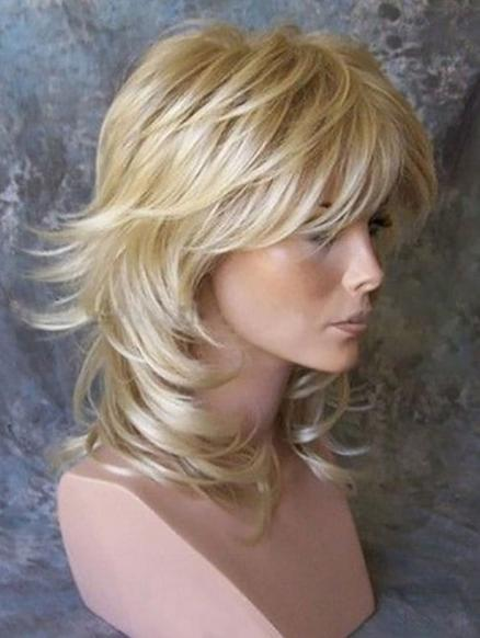 Medium Side Bang Layered Slightly Curly Synthetic Wig