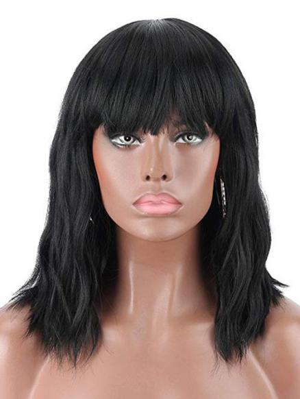 Medium Body Wave Neat Bang Synthetic Wig