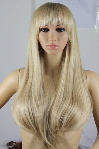 Fashion Fluffy Full Bang Light Blonde Charming Long Straight Synthetic Wig For Women
