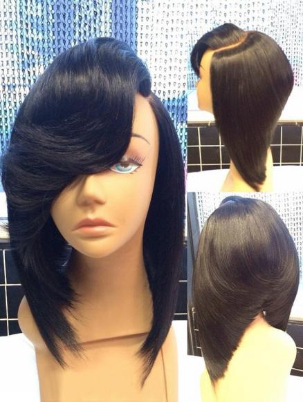 Medium Oblique Bang Straight Inverted Bob Synthetic Wig