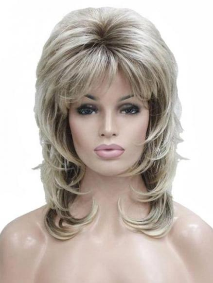 Side Bang Medium Straight Fluffy Synthetic Wig