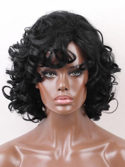 Loose Wave Side Bang Medium Synthetic Wig
