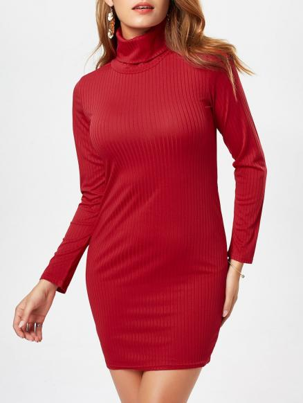 Graceful Turtleneck Long Sleeve Solid Color Bodycon Sweater Dress For Women