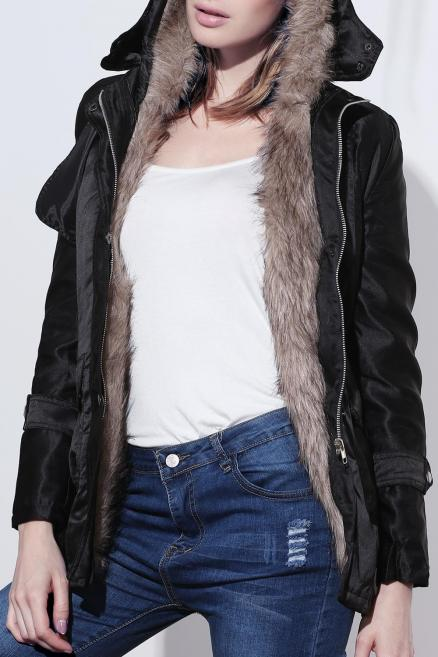Women's Cotton Solid Color Thickened Faux Fur Lined Waistband Beam Waist Pockets Korean Style Stylish Coat