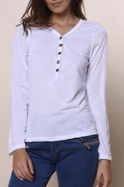 Sexy Women's Plunging Neckline Solid Color Long Sleeves T-Shirt