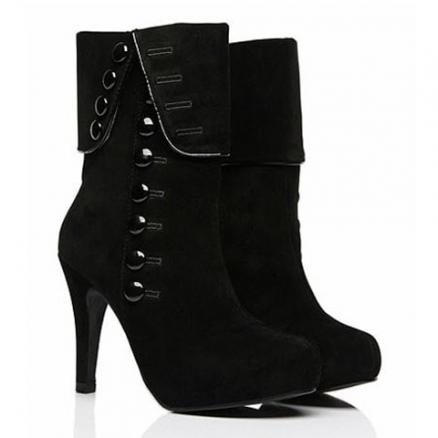 Suede Button Mid Calf Boots