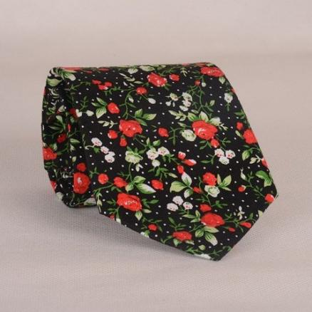Stylish Fulled Various Flowers Leaves Dots Pattern Men's Tie