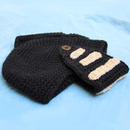 Stylish Stripy and Button Embellished Men's Knight Knitted Hat