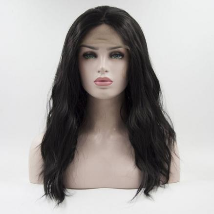 18  inch Long Black Water Wavy Style for Women Heat Resistant Synthetic Hair Lace Front wigs