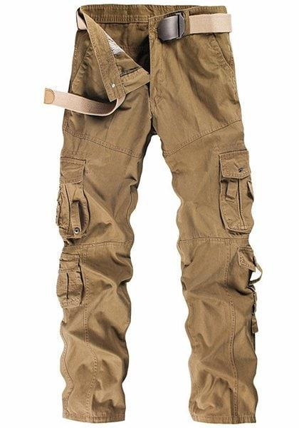 Casual Solid Color Multi-Pocket Straight Leg Zipper Fly Men's Cargo Pants