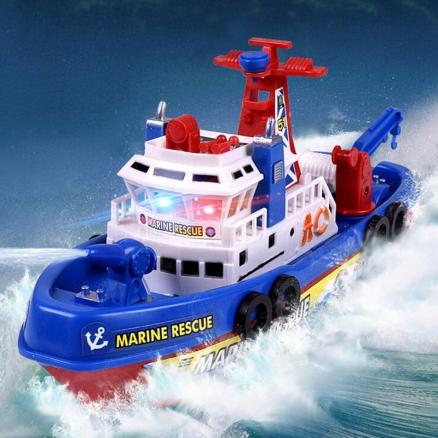 Children Bathing Music Light Electric Ship Marine Fireboat Water Toy(Without Batteries)