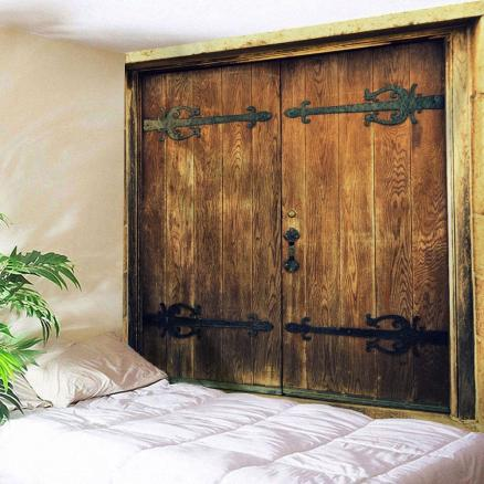 Wall Hanging Nostalgic Wooden Door Pattern Tapestry