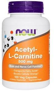 Now Foods Acetyl-L-Carnitine 500 mg Veg Capsules 100 caps