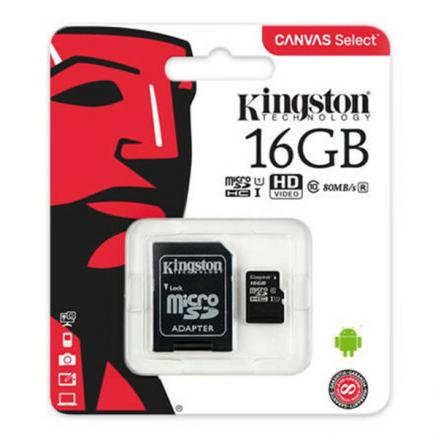 Карта памяти Kingston MicroSD 16Gb Class 10 UHS-I (80 Mb/s) с SD адаптером