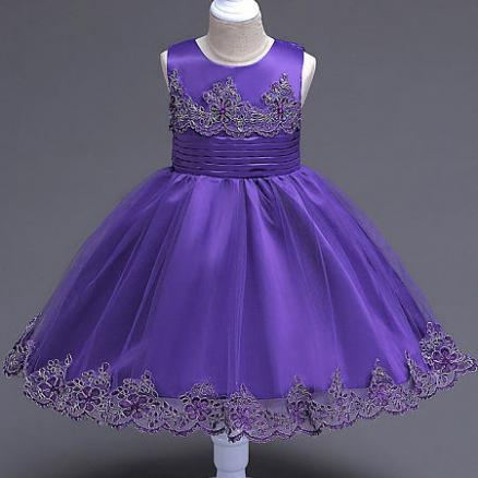 Beads Decorated Flower Embroidered Self Tie Princess Dress (4131084)