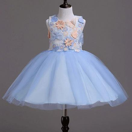 Flower Embroidered Back Bowknot Tulle Princess Dress (4176133)