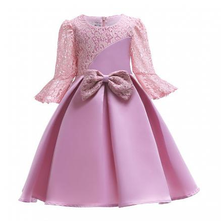 Bowknot Decorated Lace Self Tie Pink Princess Dress (5203432)