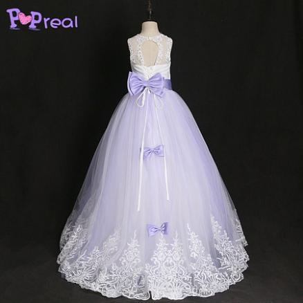 Lace Bowknot Sequin Decorated Floor Length Dress (4084352)
